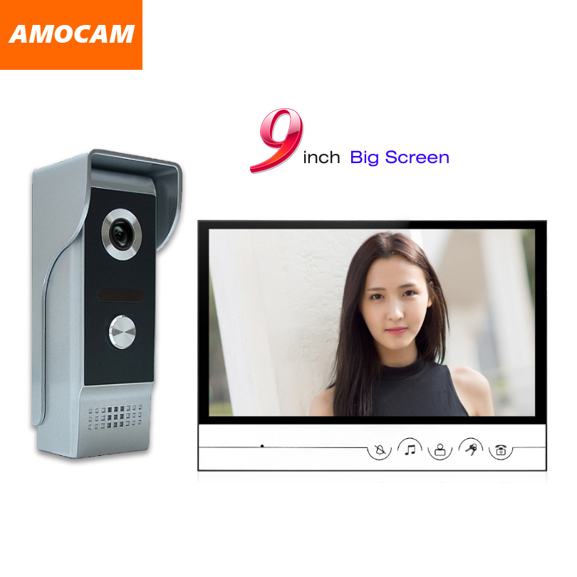 9 big Monitor Video Door Phone Doorbell System Video Intercom IR Night Vision Aluminum Alloy Camera Video Doorphone