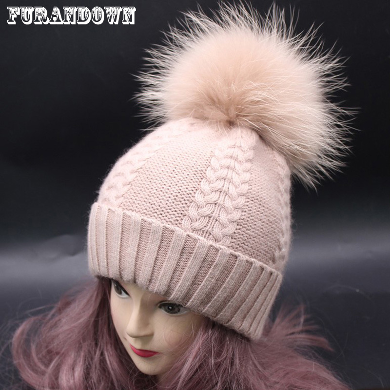 320642c10887 2018 New Women Fur Pompom Beanies Female Cashmere Wool Knitted Winter Hats  Warm Slouchy Beanie Hat Female Twist pattern caps