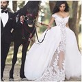 Ball Gown Transparent Lace Wedding Dresses Short Sleeve Sexy V-neck Detachable Train Tulle Skirt  robe de mariage Wedding Gowns