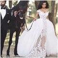 Vestido de Baile vestido de Renda Transparente Vestidos de Casamento Manga Curta Sexy Com Decote Em V Trem Destacável Saia de Tule robe de mariage Vestidos de Casamento