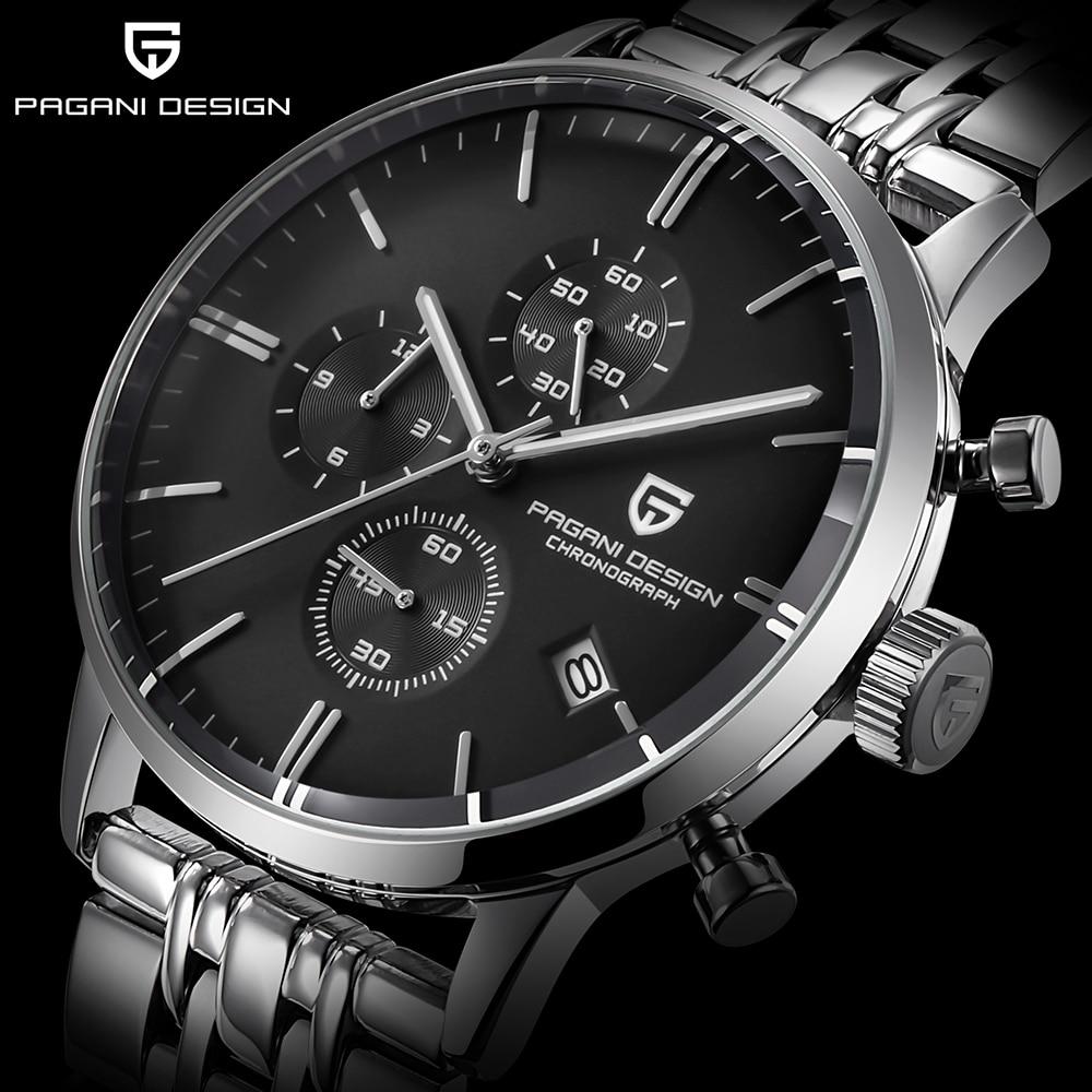 PAGANI DESIGN Brand Luxury Multifunction Men Watch stainless steel Fashion Sport Military Quartz Watch Men Relogio