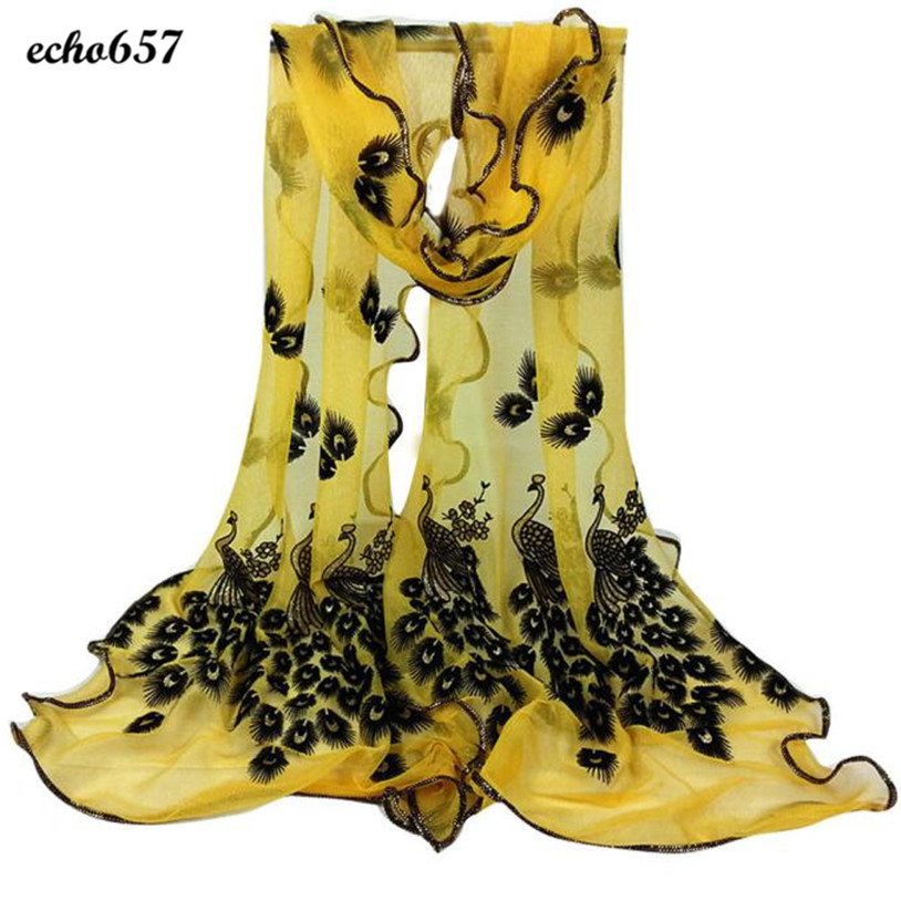 85d94536a1 Fashion Women Scarf Echo657 Hot Sale Newly Fashion Women Peacock Flower  Embroidered Lace Scarf Long Soft Wrap Shawl P40