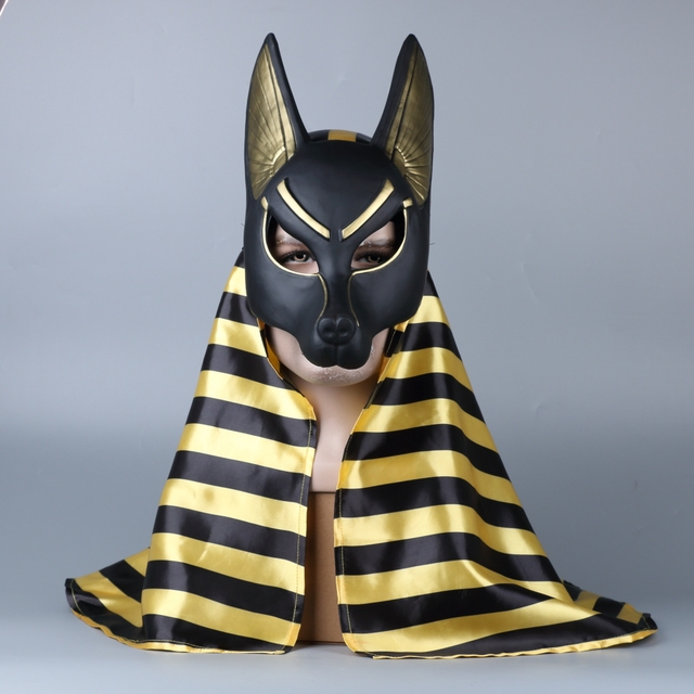 egyptian anubis cosplay face mask headscarf pvc canis spp wolf head jackal animal props party halloween