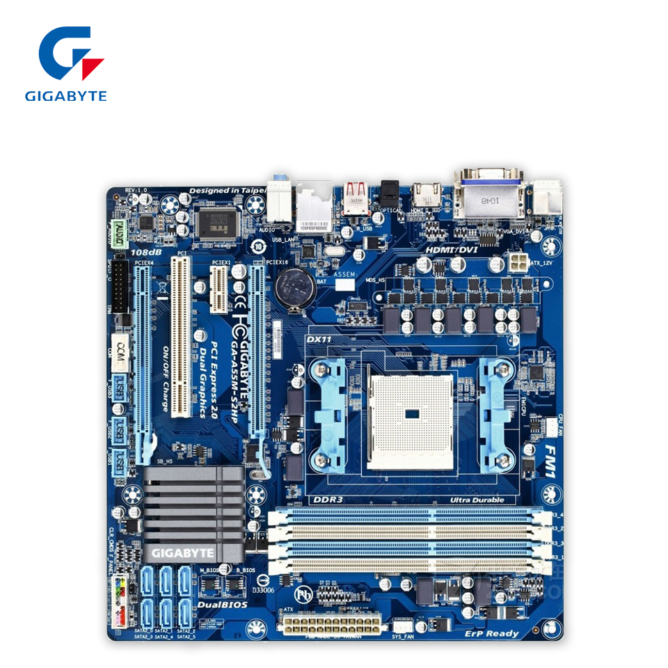 Gigabyte GA-A55-S2HP Original Used Desktop Motherboard A55-S2HP A75 Socket FM1 DDR3 32G SATA2 USB2.0 Micro ATX free shipping original motherboard for gigabyte ga a55 s3p socket fm1 ddr3 32gb a55 s3p all solid atx desktop motherboard