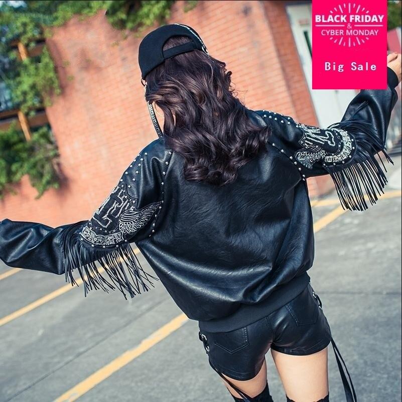 2018 fashion new women rivet tassel embroidery PU   leather   jacket loose uniform female motorcycle outwear L1023 freeship