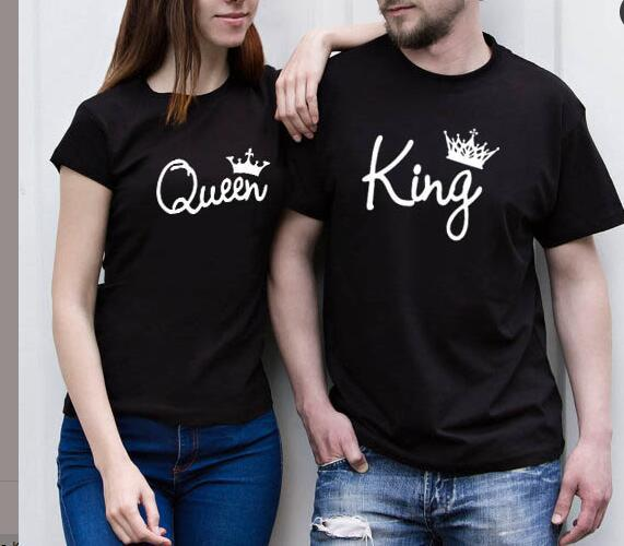4424c58a Lovers Tee Shirt Women Men Summer 2018 T-shirt King Queen Diadem Crown  Printing Couple Clothes O-neck Casual Cotton Tee Tops