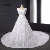 Luxury Vestido De Noiva Real Sample 2016 Embroidery Lace Applique Heavy Beads Robe De Mariage Wedding