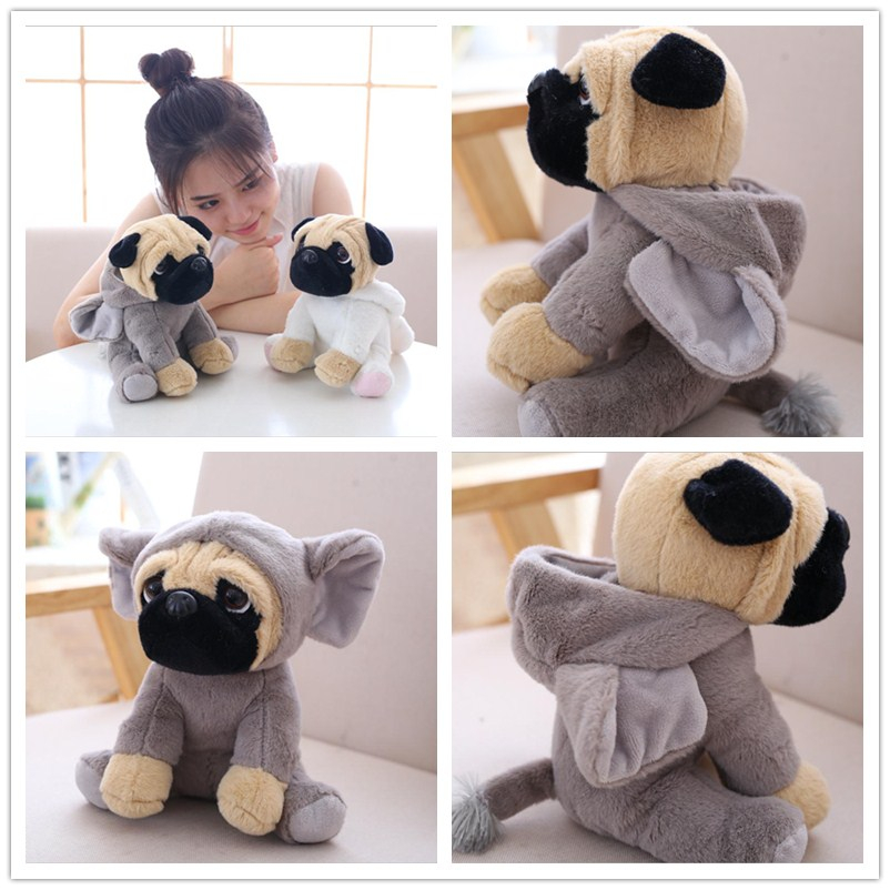 The SharPei turned dog doll plush toy hat dog doll simulation belldog Pug Stuffed animals Toys For Children gift 20 simulation squatting pug dog huge 78cm simulation pekingese dog plush toy soft doll hugging pillow christmas gift w1017