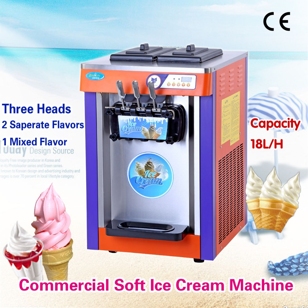 Soft Serve Ice Cream Machine Colorful / Stainless Steel 220V Softy Ice Cream Maker Countertop Type cukyi household electric multi function cooker 220v stainless steel colorful stew cook steam machine 5 in 1