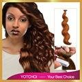 """Yotchoi PU extensiones de cabello cinta ash blonde color de 27# 18 """" - 24 """" dibujada doble onda del cuerpo del pelo 100% remy extensiones del pelo humano"""