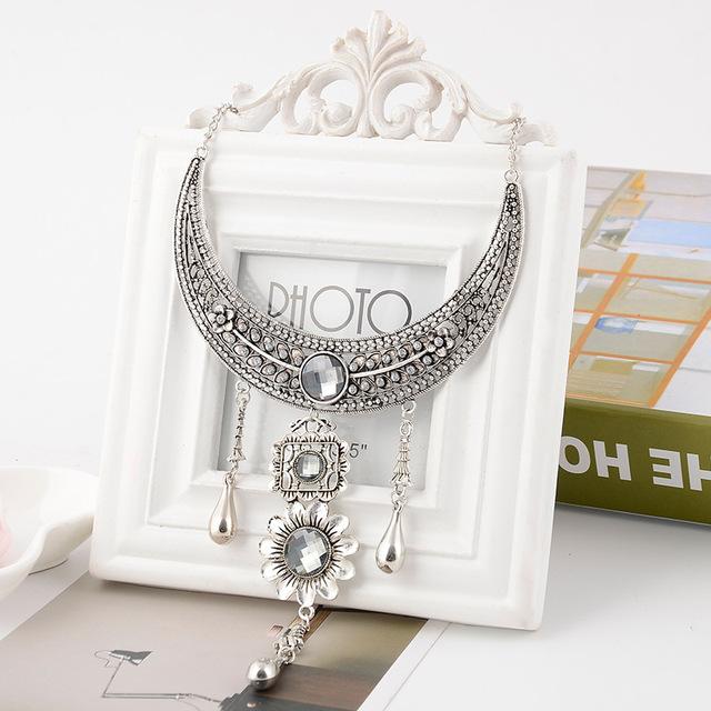 Boho Chunky Choker Necklace Crystal Rhinestone Pendant Fashion Women Party Bid Statement Silver Chain Vintage Alloy Jewelry Gift