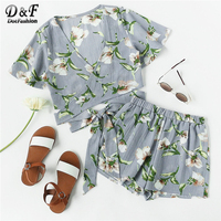 Dotfashion Allover Florals Crisscross Tie Detail Top With Shorts Women Wrap Knot Two Piece Set 2018 V Neck Short Sleeve Twopiece