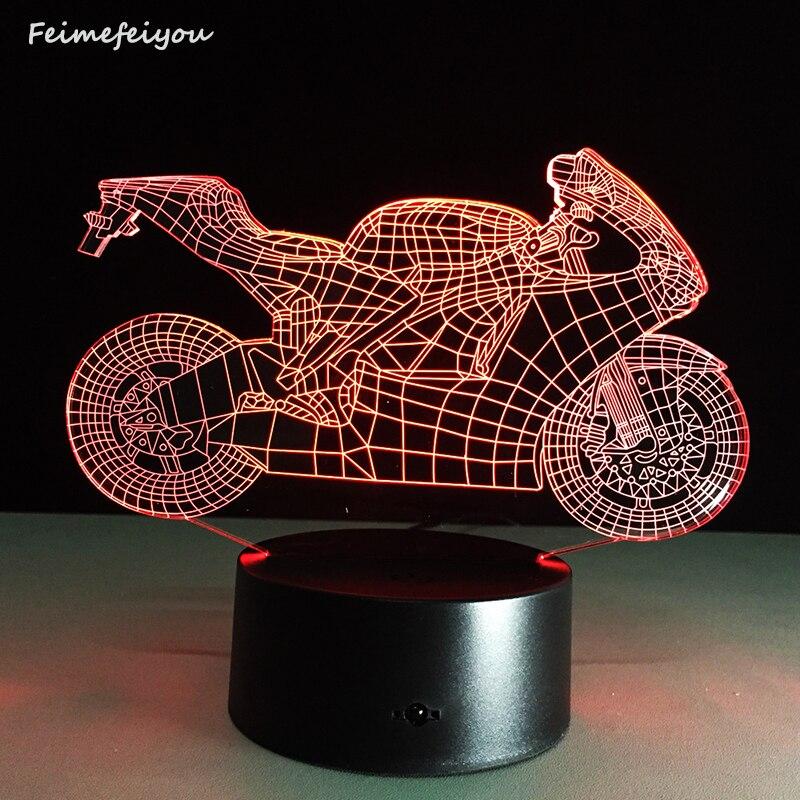 Dimmable cristal Art Deco lámparas LED dormitorio luz del sueño 3d motocicleta lámpara de mesa NightLight Touch Switch dormitorio regalo