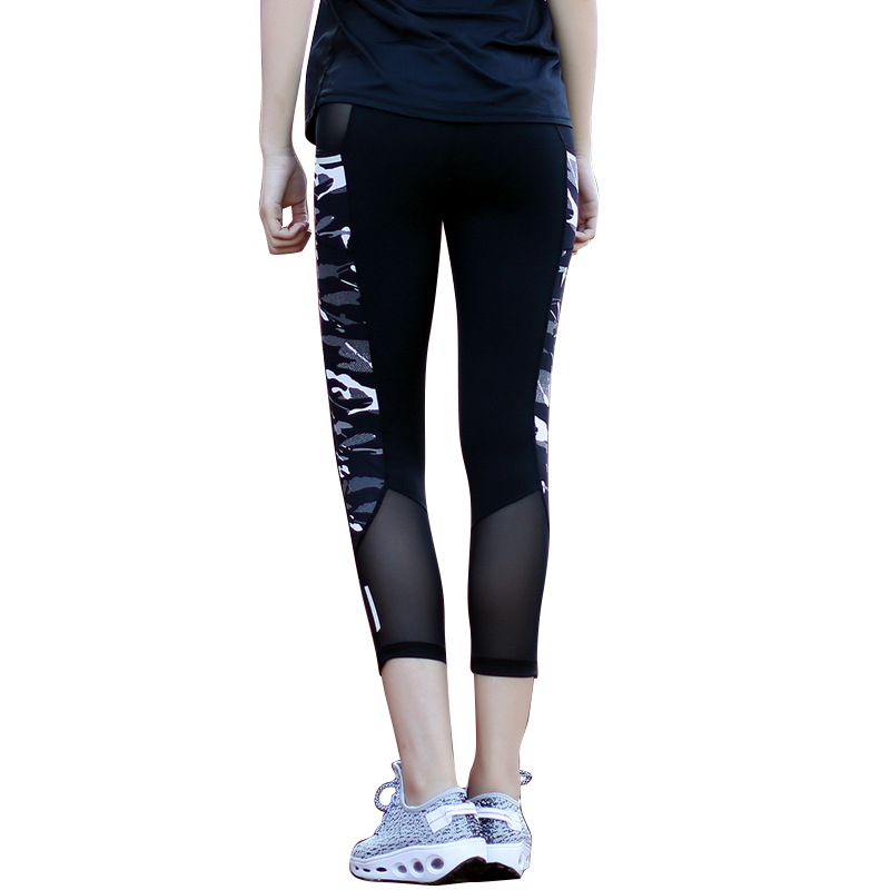 9935ceae00 Women Running Compression Tights Mesh Patchwork Camouflage Running Yoga  Pants Reflective Sexy Fitness Capris with Zipper Pocket -in Running Socks  from ...