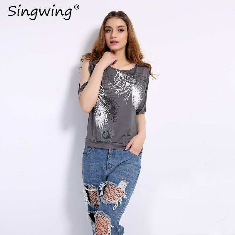 HTB1rgAJRVXXXXasapXXq6xXFXXXv - Summer Women Feather Printed T-shirts O- neck Strapless Shirts Off Shoulder