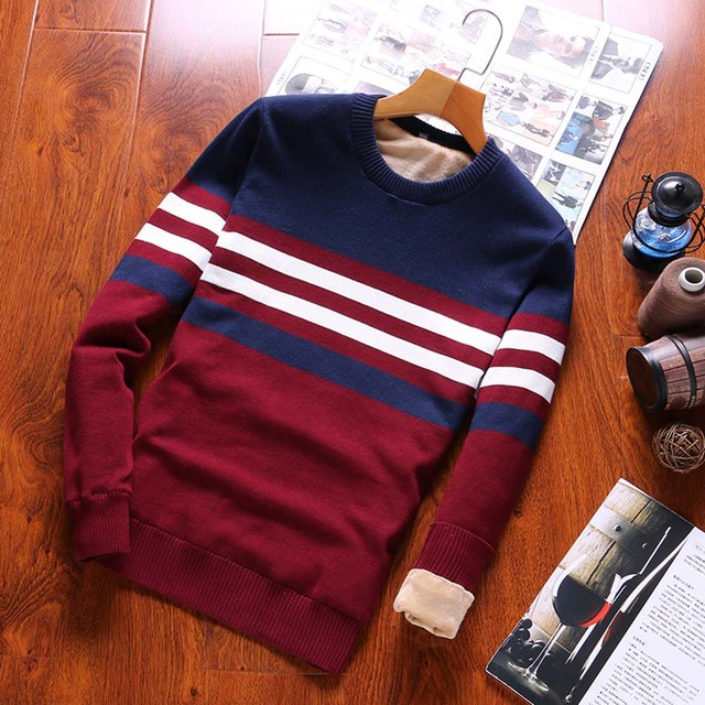 2018 Winter New Sweaters Men Fashion Style Autumn Winter Patchwork Knitted Quality Pullover Men O-neck Casual Men Sweater B0279