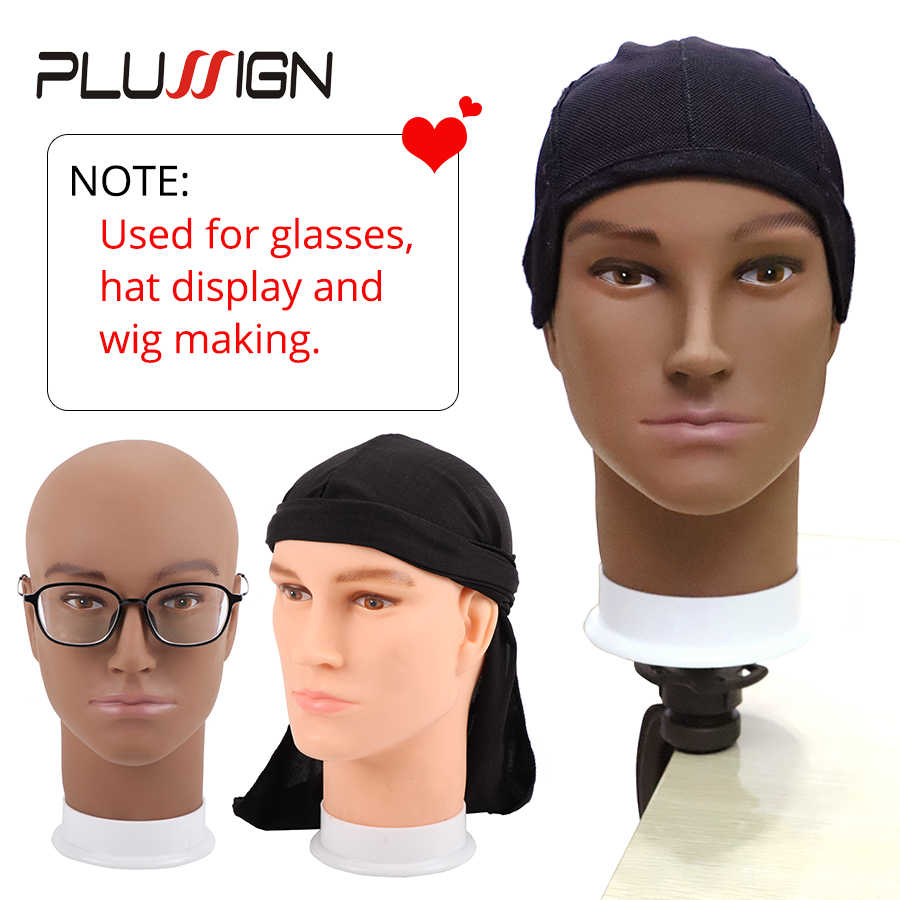 Famous Brand Plussign Male Bald Head No Hair Mannequin Jewelry Model Glass Hat Wig Display Base Man Pvc Training Practice Head