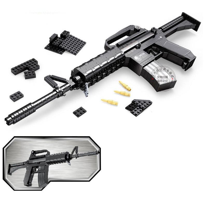 DIY Nerfs Elite Gun M16 Submachine Gun Machine Carbine Toy Gun Model Building Block Set Plastic Toy Gift For Children