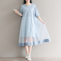 Women Casual Summer Dress Half Sleeve Mesh Patchwork Tshirt Dress New Fashion O neck Loose Oversized Blue Dress Plus Size 2XL