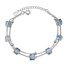Everoyal Charm Lady Crystal Square Bracelets For Girls Accessories Trendy 925 Sterling Silver Female Bijou