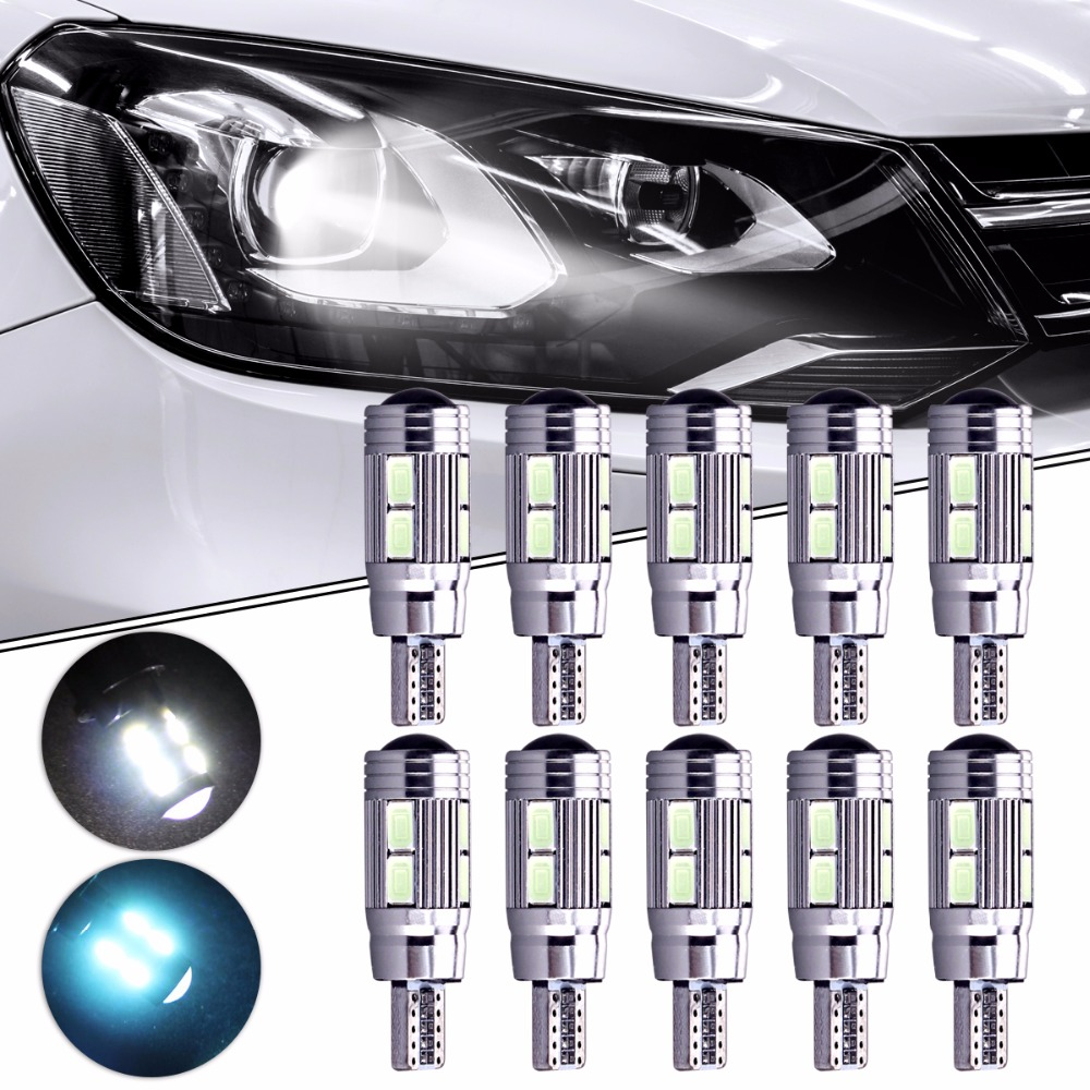 10Pcs Car-styling High Quality 10SMD LED 5630 Error Free 194 168 W5W Universal Parking Car T10 LED CANBUS T10 CANBUS Side Light wholesale 10pcs lot canbus t10 5smd 5050 led canbus light w5w led canbus 194 t10 5led smd error free white light car styling