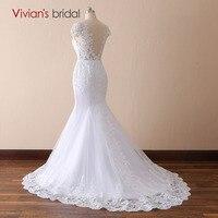 Vestido De Noiva Cap Sleeve White Ivory Mermaid Lace Wedding Dresses V Neck Backless Court Train