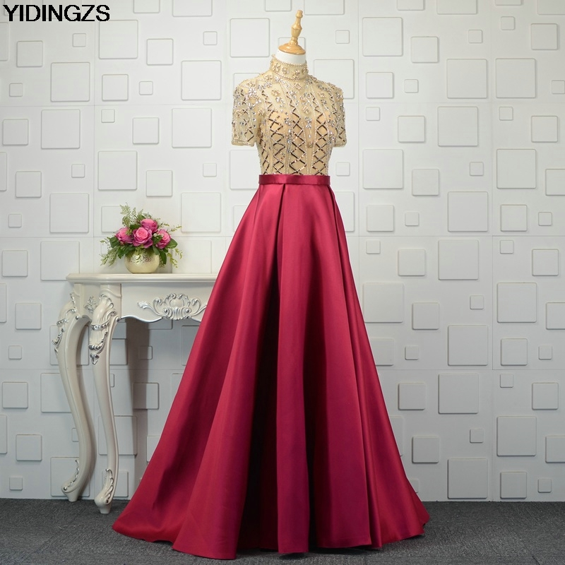 YIDINGZS High-Neck Beads A Line Long   Evening     Dress   Short Sleeve Party Elegant Prom Gowns