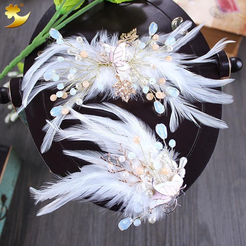 XinYun Wedding Hair Jewelry Feather Hair Clip Crystal Bride   Headwear   Wedding Hair accessories Floral Hair Clip Pearl Headdress