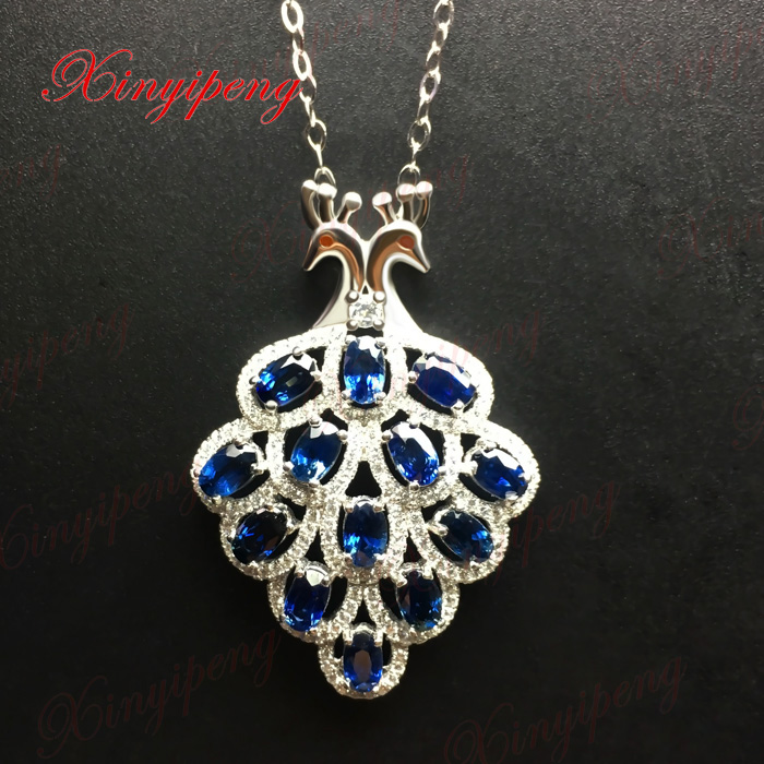 925 sterling silver with 100% natural Female sapphire pendant necklace Fashion Fine jewelry Personality and generous925 sterling silver with 100% natural Female sapphire pendant necklace Fashion Fine jewelry Personality and generous