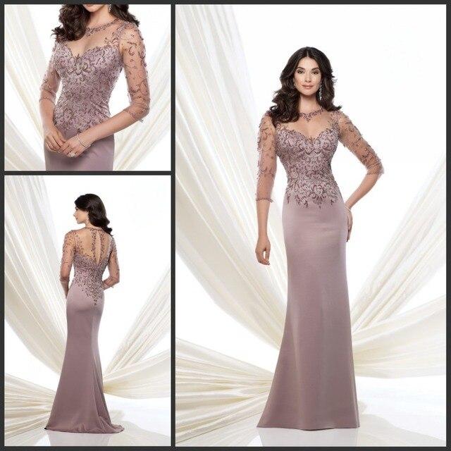 0f64452f5 Elegante Boda Vestidos Formales para Las Mujeres de Tres Cuartos de Las  Mangas de La Sirena