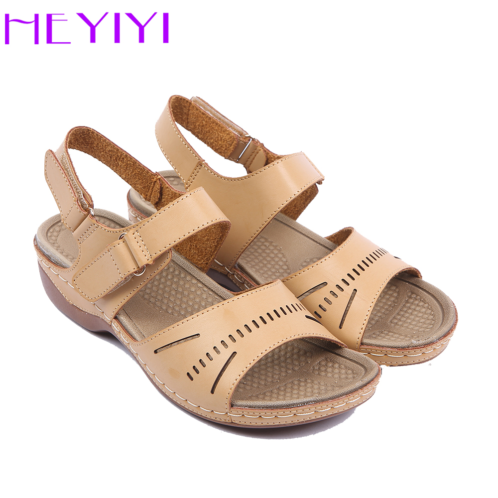 HEYIYI Women Casual Sandals Lightweight Hool&loop Platform Mid Square Heels Sewing Comfortable Soft Insole Rome Beige Shoes