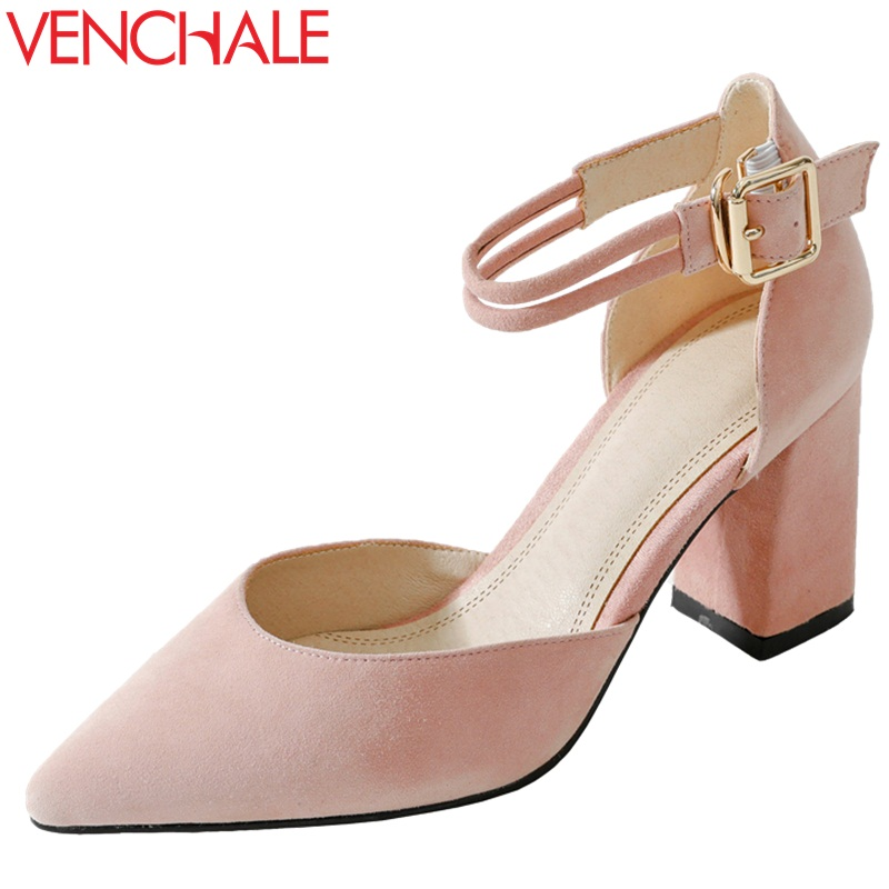 VENCHALE women shoes 2018 summer new sandals fashion heels height 7.5 cm three colors buckle strap cover square heel shoes xiaying smile summer woman sandals fashion women pumps square cover heel buckle strap fashion casual concise student women shoes