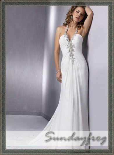 97b3a67073b Free Shipping New Arrival Sheath Chiffon Sexy Halter Beaded V-Neck White  Prom Dresses Formal