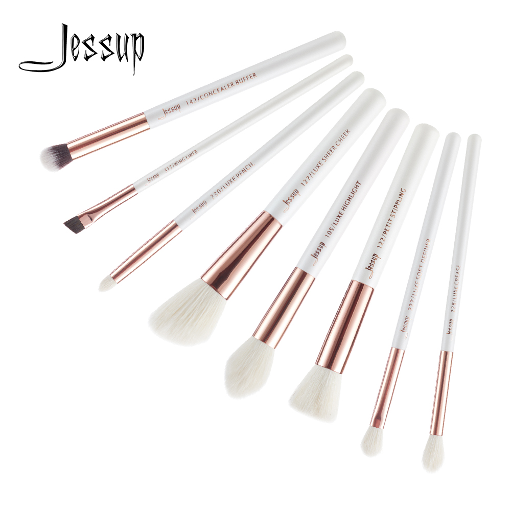 где купить Jessup Brushes 8pcs White/Rose Gold Professional Makeup Brushes Set Definer Concealer Highlighter Makeup Brush Tools kit T218 по лучшей цене