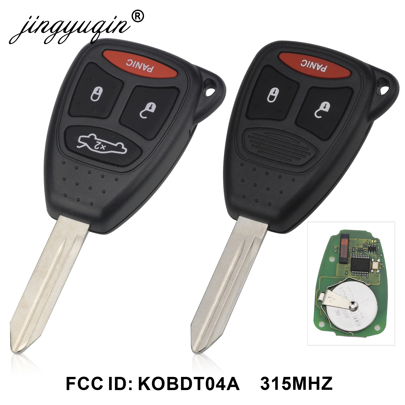 jingyuqin 315mhz KOBDT04A Remote Car key 3/4 Button for Dodge Chrysler Jeep Dakota Durango Charger 300 Aspen Grand Cherokee-in Car Key from Automobiles & Motorcycles