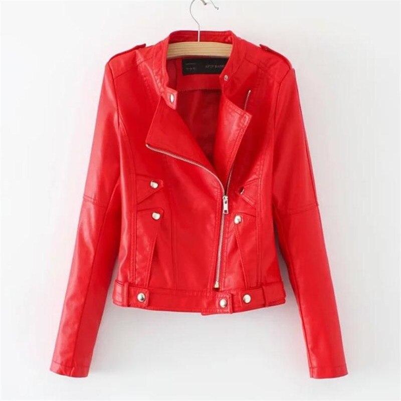 European Station Women's Spring and Autumn Pu Jacket Coats Fashion Leisure New Long Sleeve   Leather   Jackets Punk Wind Turbine XL