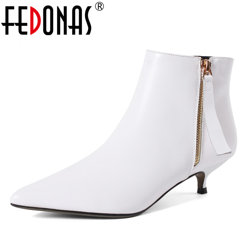 FEDONAS Fashion Women High Heeled Pumps Black White Zipper Autumn Winter Warm Ankle Boots Female Office