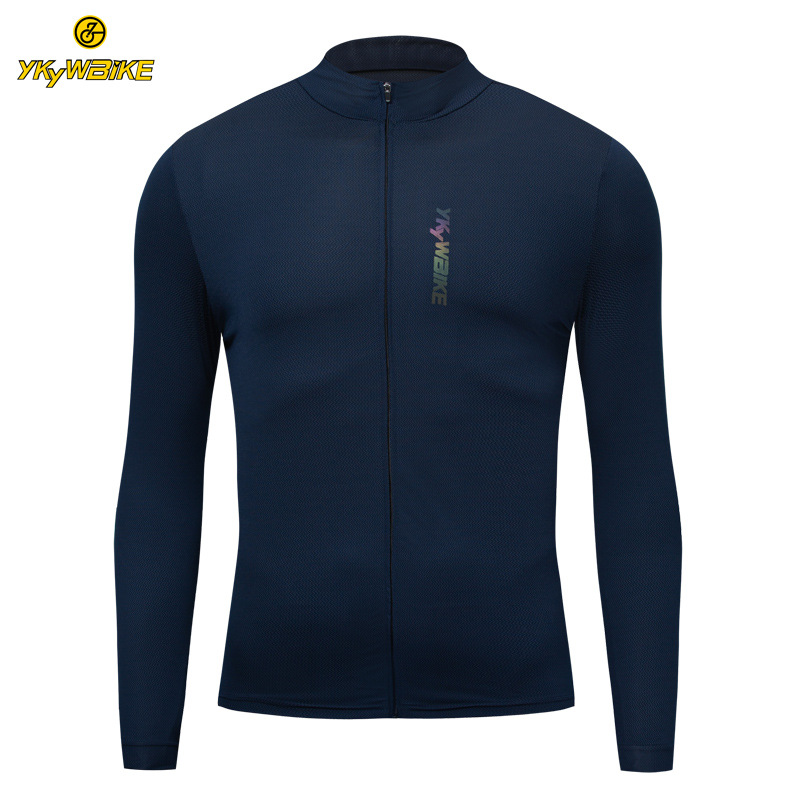 YKYWBIKE Long Sleeve Cycling Jersey Reflective Mountain Road Bike Jersey MTB Cycling Wear Bicycle Clothes Bike Shirts Zip Pocket