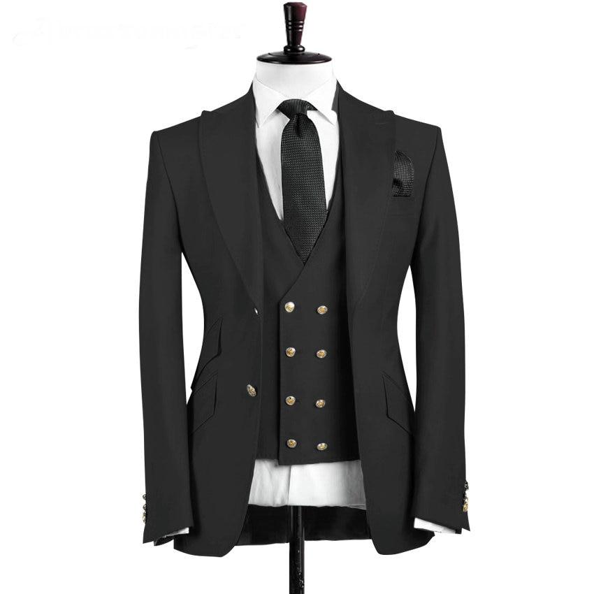 2019 Slim Fit Peaked Lapel Black Business Mens Suit Best Man Groom Wedding Suits For Men 3 Pieces Prom Tuxedo(Jacket+Vest+Pants)