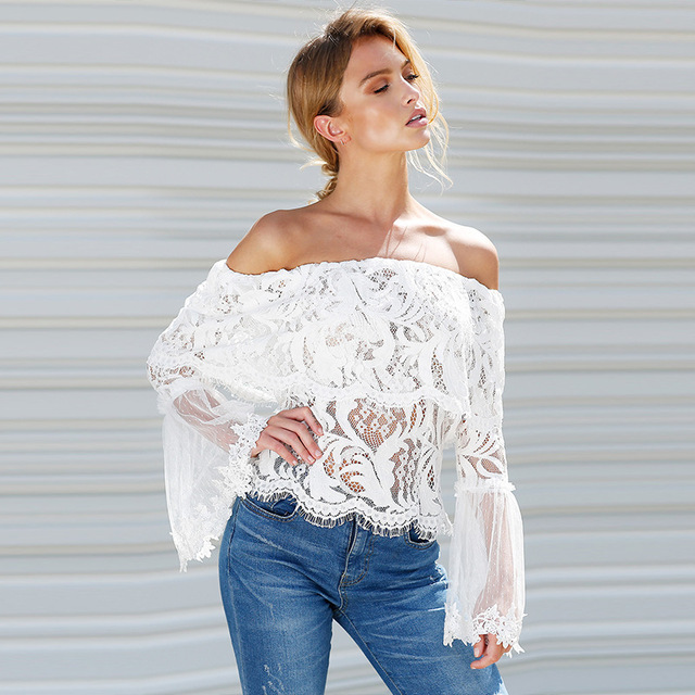 e23d9b126c6da0 Off Shoulder Lace Blouse Women New Summer Folder Sheer Smocked Flare  Sleeves See Through Tops Punk