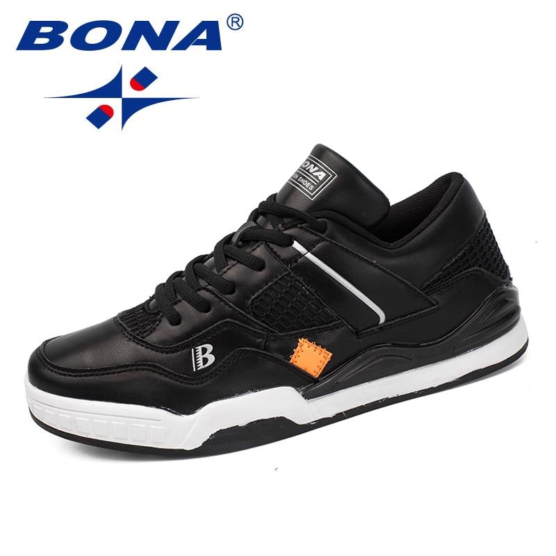 BONA New Classics Style Men Skateboarding Shoes Lace Up Men Athletic Shoes Outdoor Jogging Shoes Leather Men Sneakers Shoes colour block lace up splicing athletic shoes
