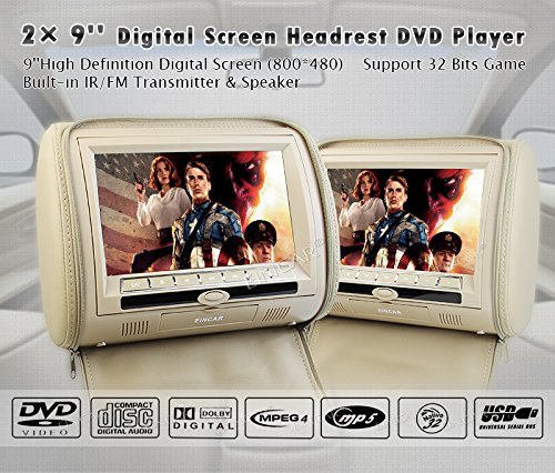 "2x9"" Digital Screen zipper two 2 Car Headrest DVD Player USB SD TFT FM 32 bit Game Disc Remote Control with IR Wireless Headsets"