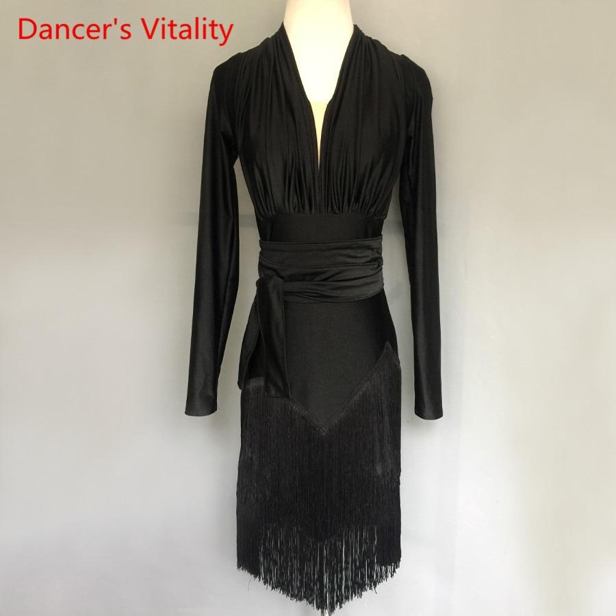 Professional Custom Made Adult/Kids Latin Dance Dress Performance Clothes Long Sleeves Tassel Dresses Women Latin Dance Costume
