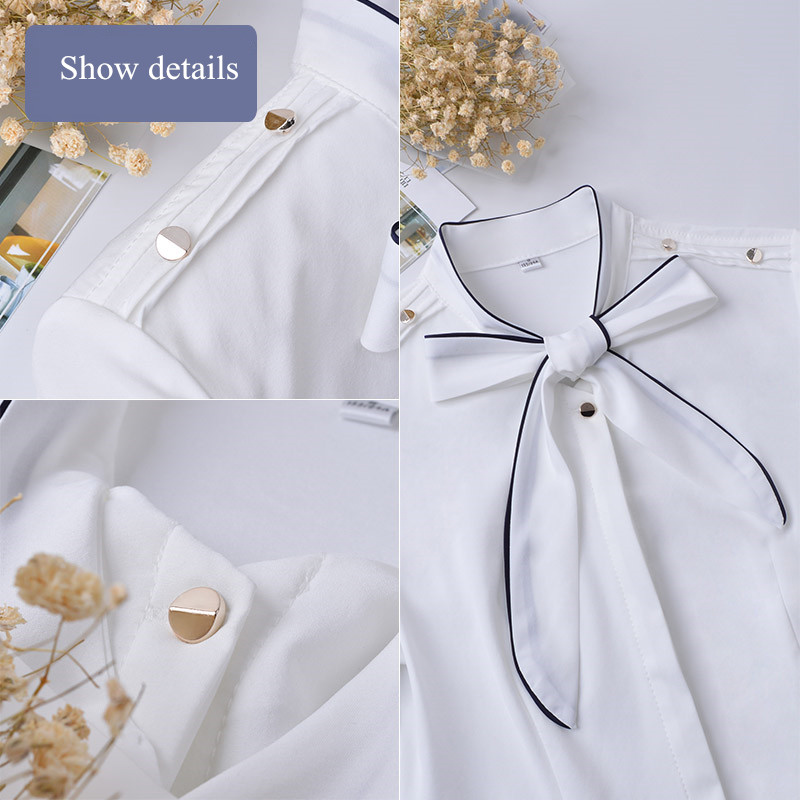 Slim light Manga Camisa Patchwork Superior Black Tamaño Mujeres Corta Elegante Oficina Mujer Blusa Formal white Gasa Ol Blue Plus De Verano Nuevo Profesional Sq8vR4