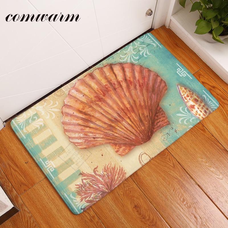 comwarm thin durable vintage ocean shell rectangular anti slip mat 4060cm entrance doormat washable