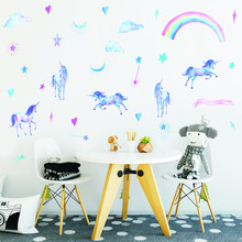 Lovely Unicorn Horse Wall Stickers Cloud Colorful Rainbow Heart Stars Decals For Children Baby Room Home Decor Wallpaper Art
