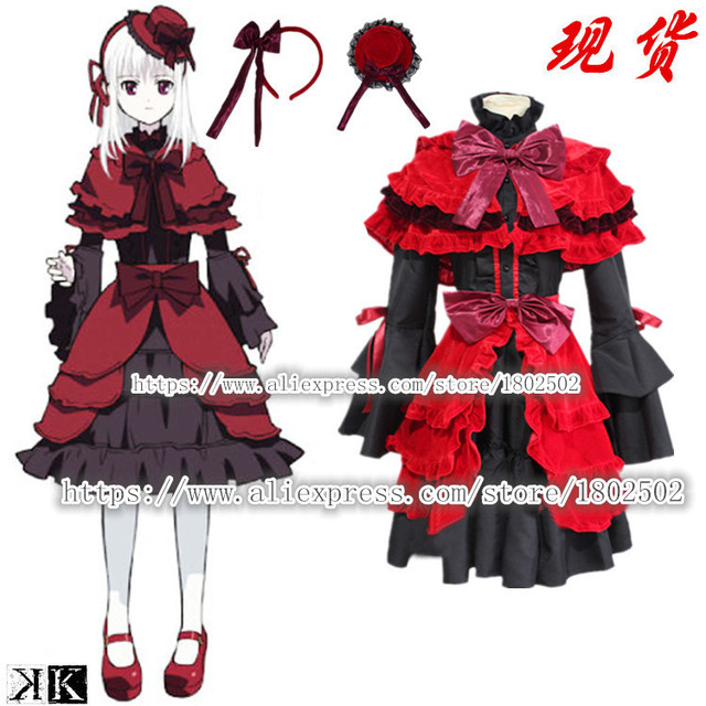 K Project Kushina Anna Cosplay Costume Red and Black Gothic Lolita Dress K  Anime Cosplay Halloween