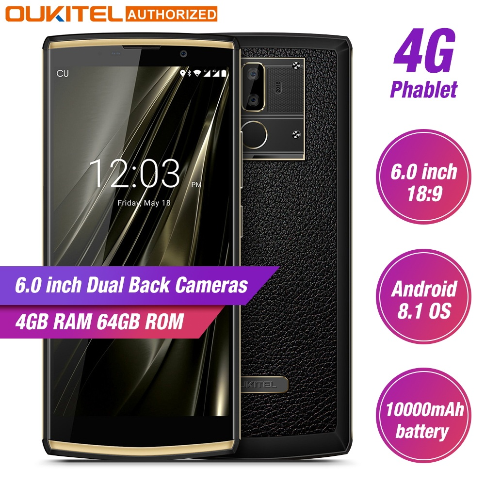 Oukitel K7 6.0 pouces 4GB RAM 64GB ROM téléphone Mobile Android 8.1 MTK6750T 10000mAh Charge rapide empreinte digitale Smartphone