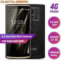 Oukitel K7 6.0 «18:9 affichage téléphone Mobile Android 8.1 4G RAM 64G ROM 10000 mAh Charge rapide MTK6750T empreinte digitale double caméra arrière