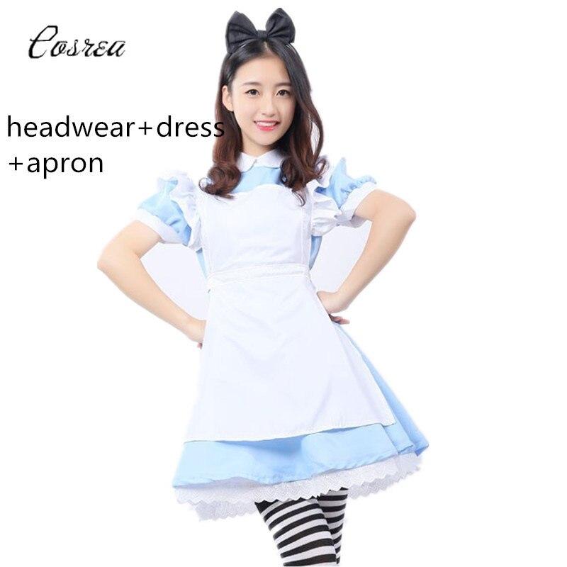 Anime Alice In Wonderland Costume Lolita Princess Dress Girls Maid Cosplay Skirt for Women Fantasia Carnival Party Dress Girls